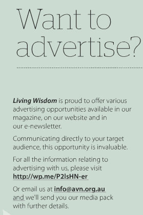 image: excerpt from full-page advert, Living Wisdom, issue 10, p.33