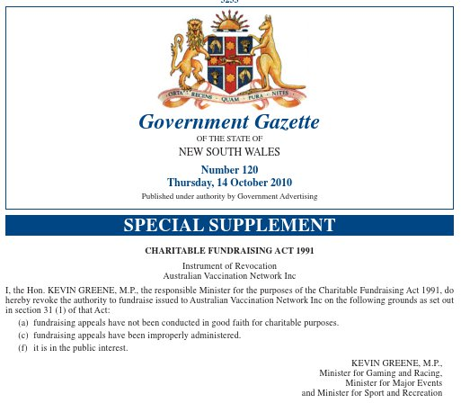 image of Government Gazette announcing revocation of the AVN's charitable fundraising authority