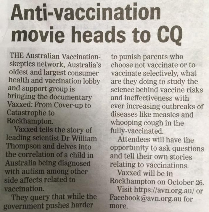 Vaxxed qld tour 2017 overview the capricorn coast mirror also fails to inform its readers that the qld health minister cameron dick has asked people to boycott these screenings and solutioingenieria Images