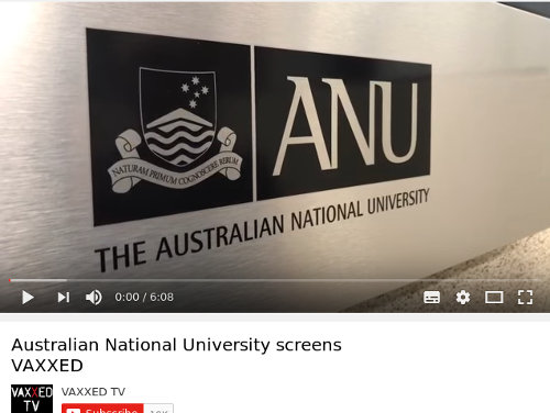 Official Vaxxed YouTube video title: Australian National University screen VAXXED