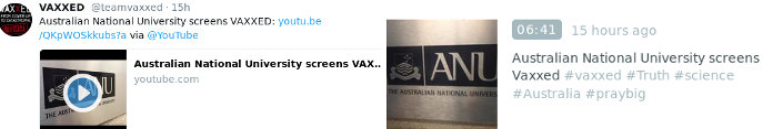 images: Official Vaxxed Periscope & Twitter: Australian National University screens Vaxxed