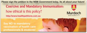 petition poster by Wilyman which includes the Murdoch University logo, used without permission