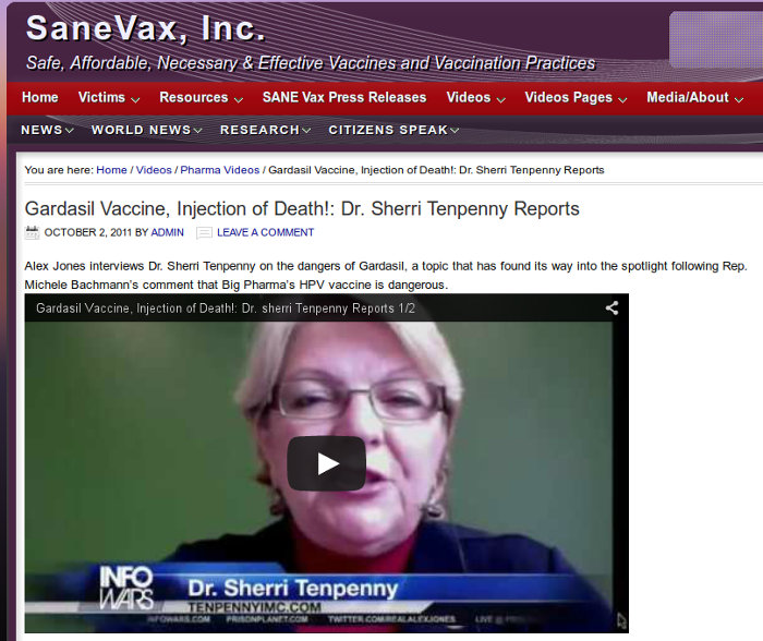 image: SaneVax website - Dr Tenpenny video entitled Gardasil Vaccine, Injection of Death!